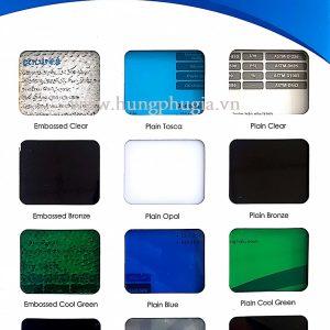 Bảng màu tấm poly đặc ruột indonesia Solarflat