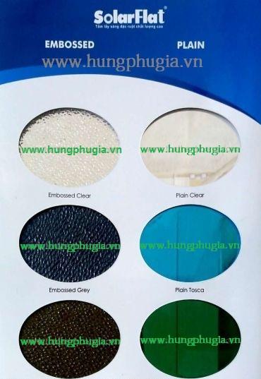Bảng màu tấm lợp lấy sáng Polycarbonate đặc ruột Solarflat Indonesia