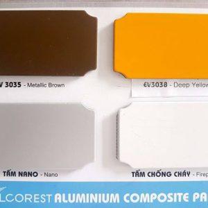 Bảng màu tấm ốp nhôm aluminium Alcorest ngoài trời