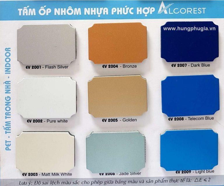 Bảng màu tấm ốp nhôm nhựa Aluminium Alcorest trong nhà
