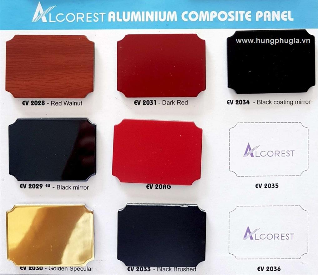 Bảng màu tấm ốp nhôm nhựa Aluminium Alcorest trong nhà PET