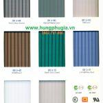 Bảng màu tấm lợp Polycarbonate rỗng ruột Hàn Quốc