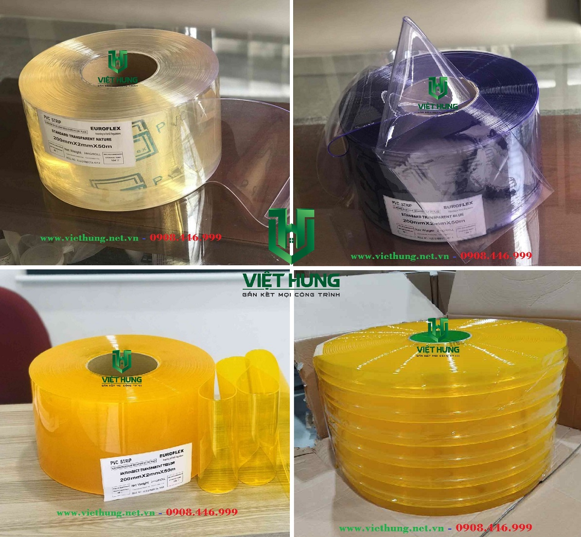 Bảng màu sắc rèm nhựa pvc ngăn lạnh, bụi, côn trùng màu trắng trong, xanh trong, vàng cam, vàng gân