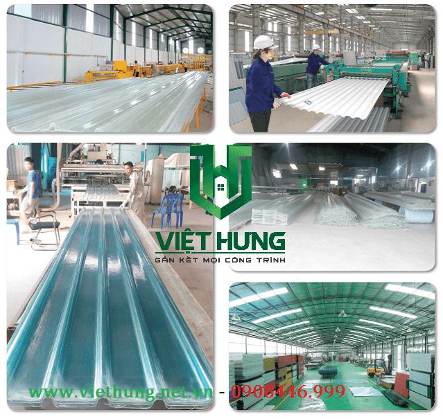 Nhà máy sản xuất tôn nhựa lấy sáng Polycarbonate Cty Việt Hưng