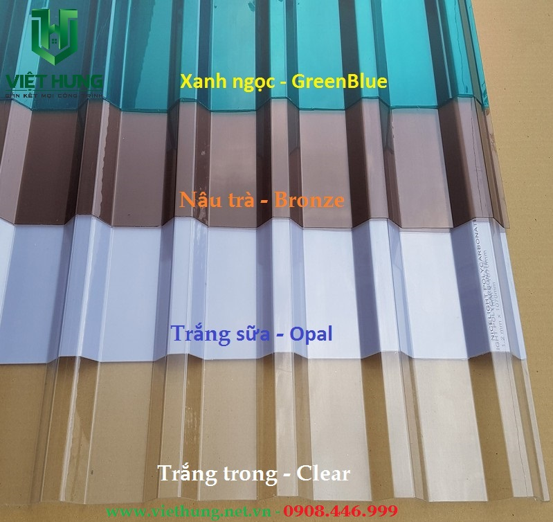 Bảng màu tôn nhựa lấy sáng Polycarbonate trong suốt