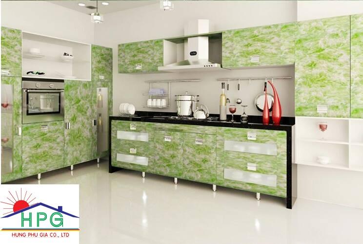 Tấm pima cẩm thạch làm tủ bếp