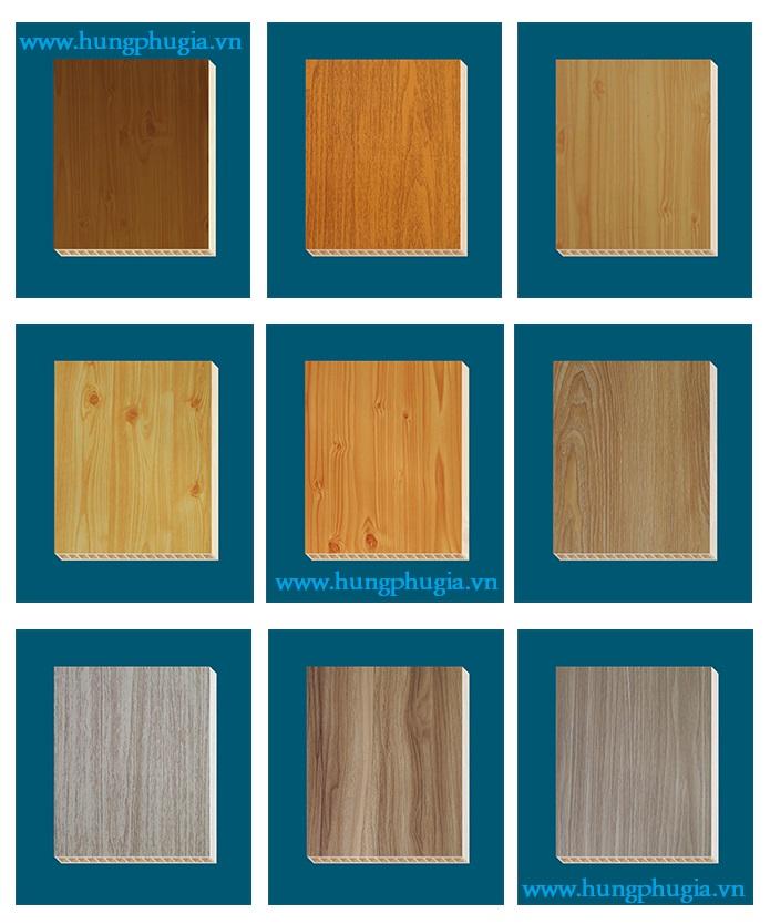 Bảng màu tấm ván nhựa lót sàn pvc vân gỗ