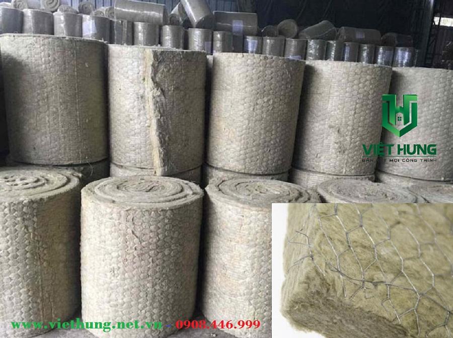 Bông khoáng rockwool cách âm cách nhiệt dạng cuộn có lưới kẽm