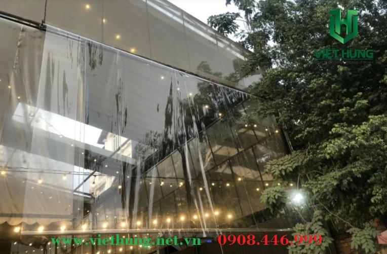 Màng Mành nhựa pvc trong suốt khổ lớn che mưa quán Cafe, quán nhậu