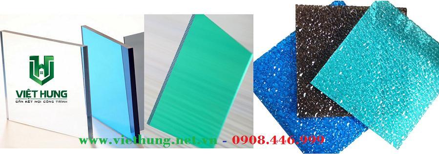 Hình ảnh tấm lợp lấy sáng Polycarbonate đặc ruột trơn và sần