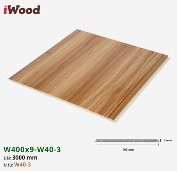 Tấm ván nhựa ốp tường giả vân gỗ Iwood màu w40-3