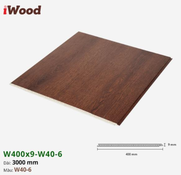 Tấm ván nhựa ốp tường giả vân gỗ Iwood màu w40-6