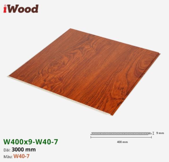Tấm ván nhựa ốp tường giả vân gỗ Iwood màu w40-7