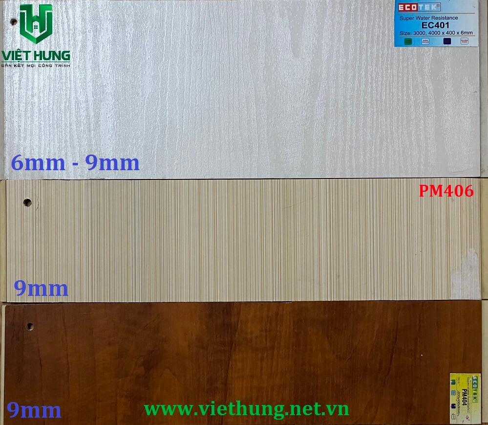 Bảng màu tấm ván nhựa ốp tường vân gỗ Ecotek