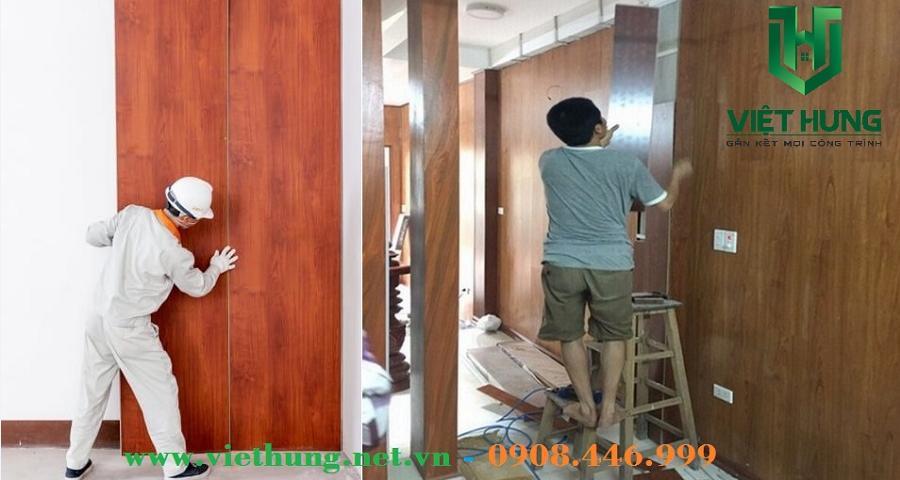 Thi công lắp đặt tấm nhựa ốp tường vân gỗ phủ Nano