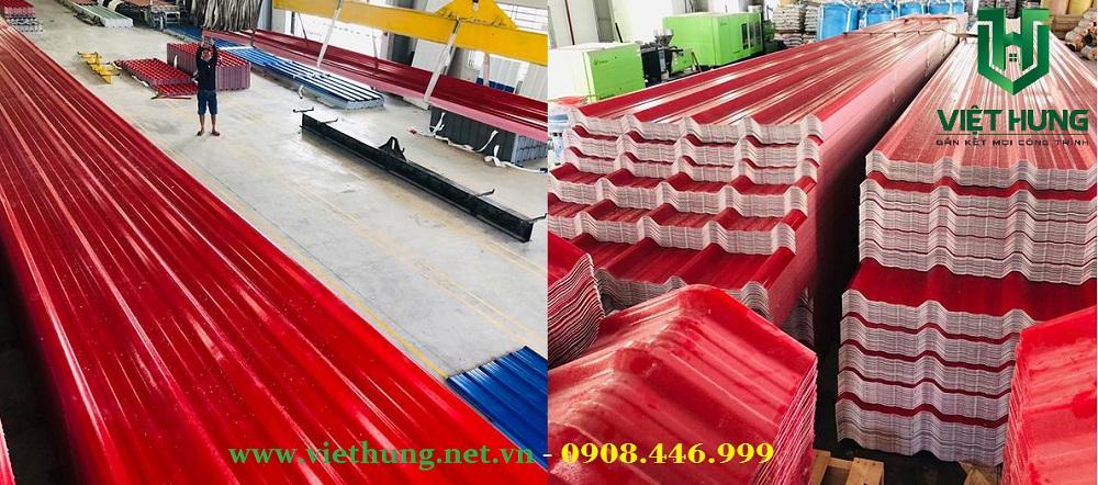 Nhà máy sản xuất tấm tôn nhựa pvc asa 5 sóng màu đỏ
