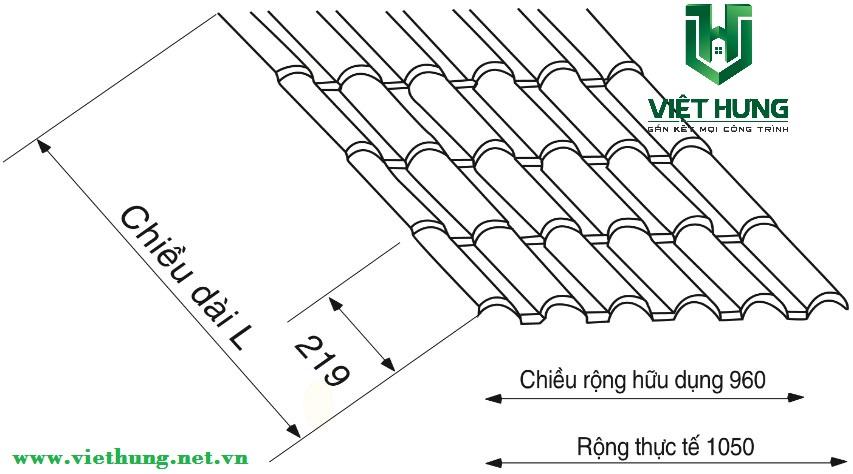 Quy cách đốt sóng ngói nhựa PVC Asa