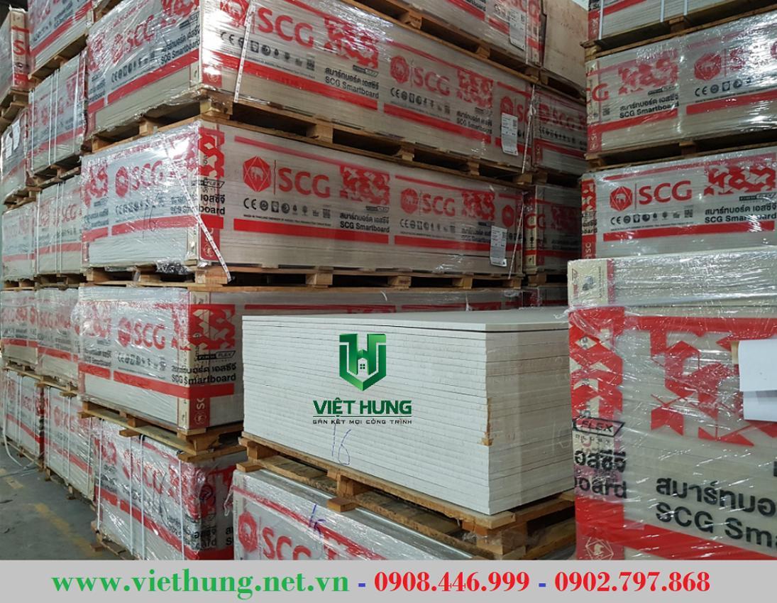 Kho hàng tấm xi măng Cemboard lót sàn SCG Thái Lan