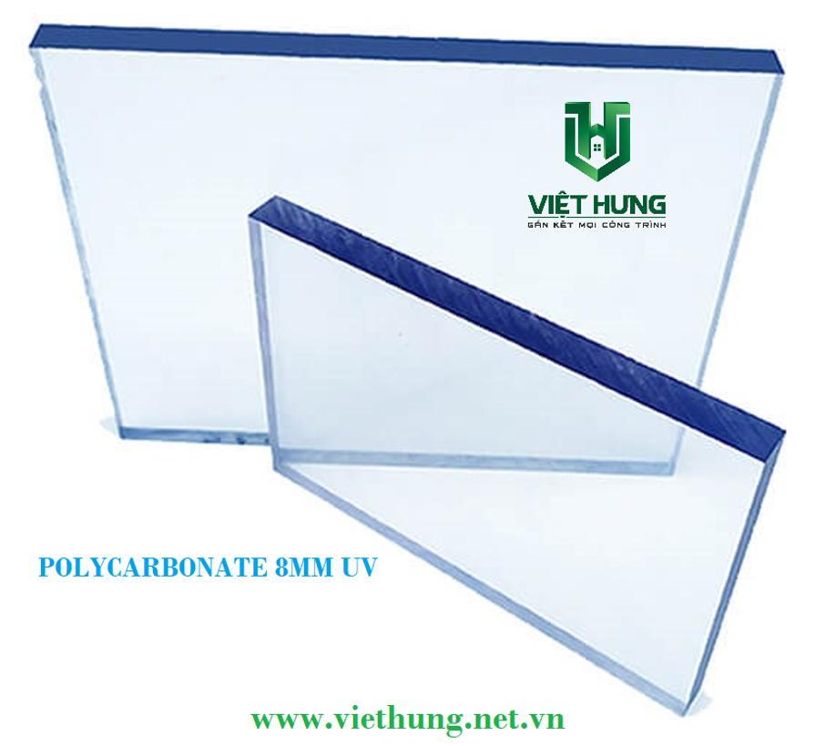 Tấm Lợp Polycarbonate Đặc Ruột Dày 8mm Phủ UV