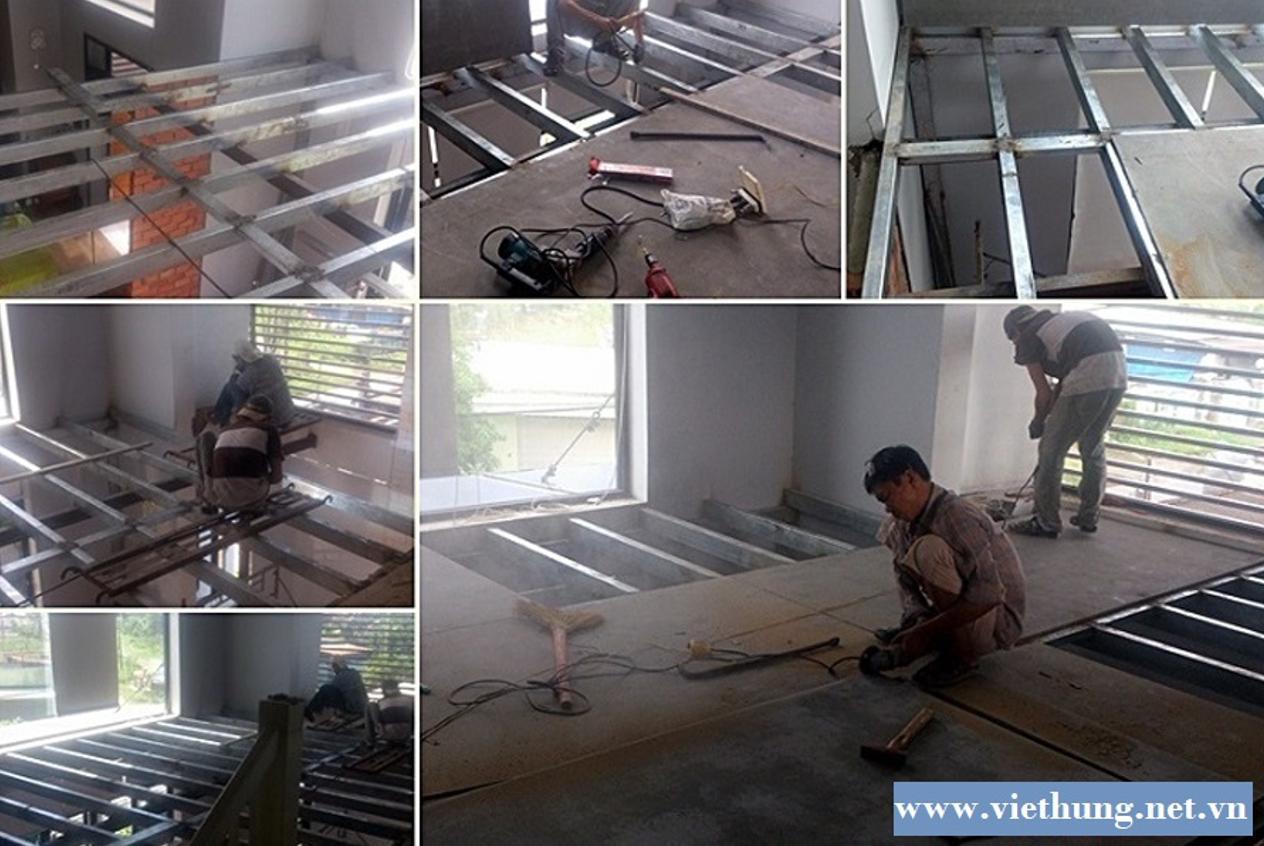 Thi công lắp đặt tấm xi măng Cemboard Thái Lan lót sàn gác